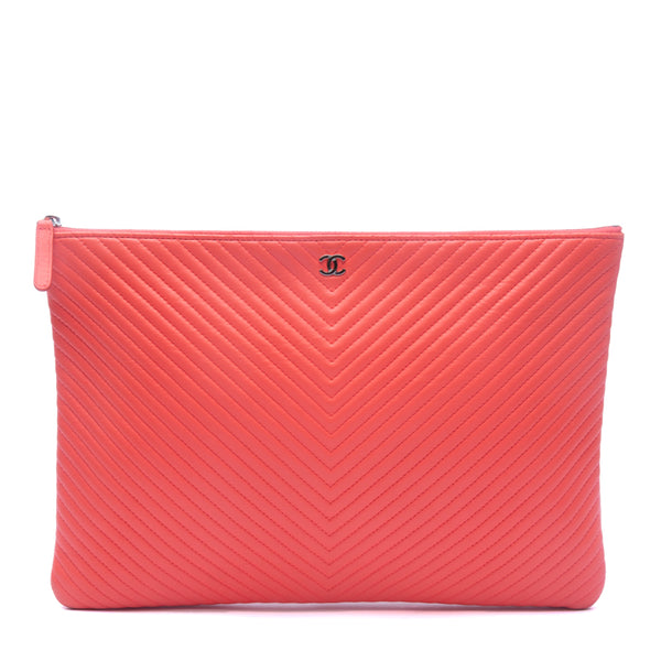 Chanel Coral Quilted Chevron Leather O-Case Zip Pouch