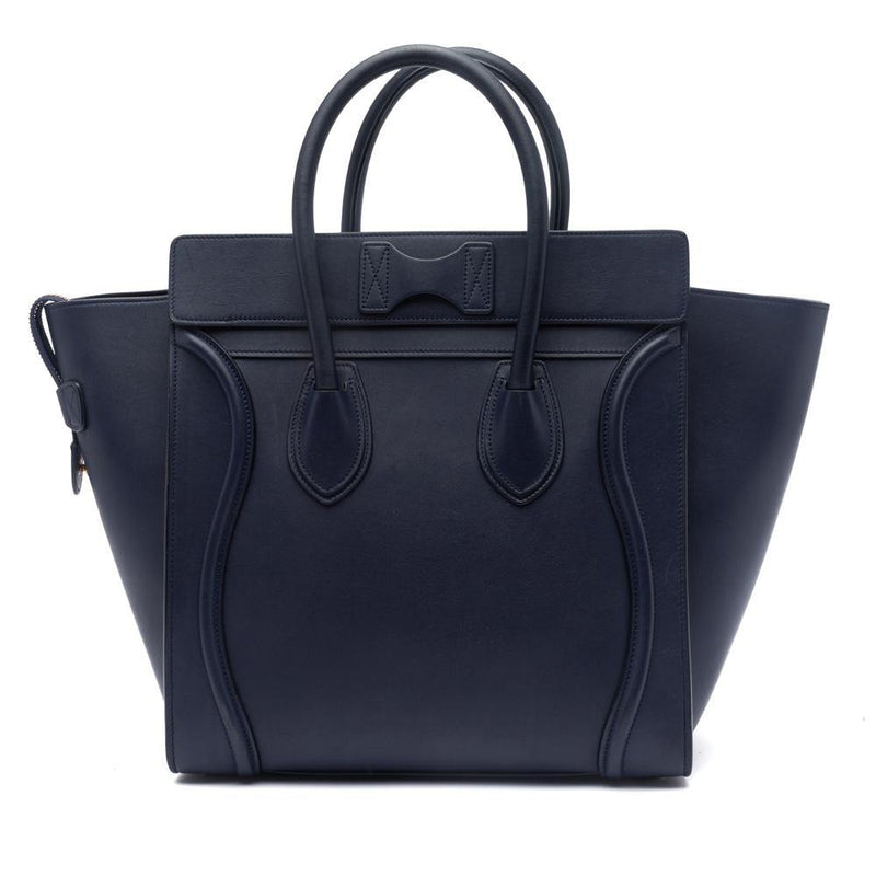 Celine Ink Blue Smooth Calfskin Leather Mini Luggage Tote Bag Back View