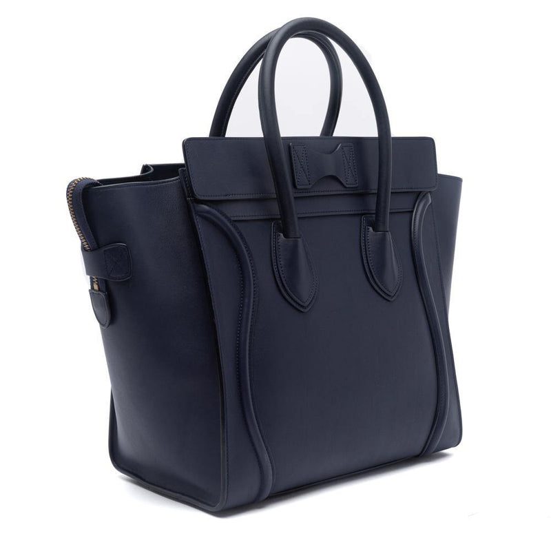 Celine Ink Blue Smooth Calfskin Leather Mini Luggage Tote Bag Side View