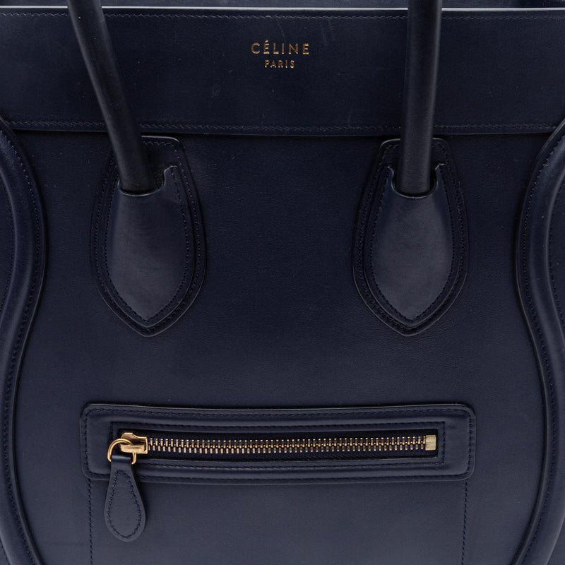 Celine Ink Blue Smooth Calfskin Leather Mini Luggage Tote Bag Stamp
