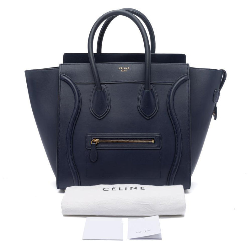Celine Ink Blue Smooth Calfskin Leather Mini Luggage Tote Bag Dust Bag