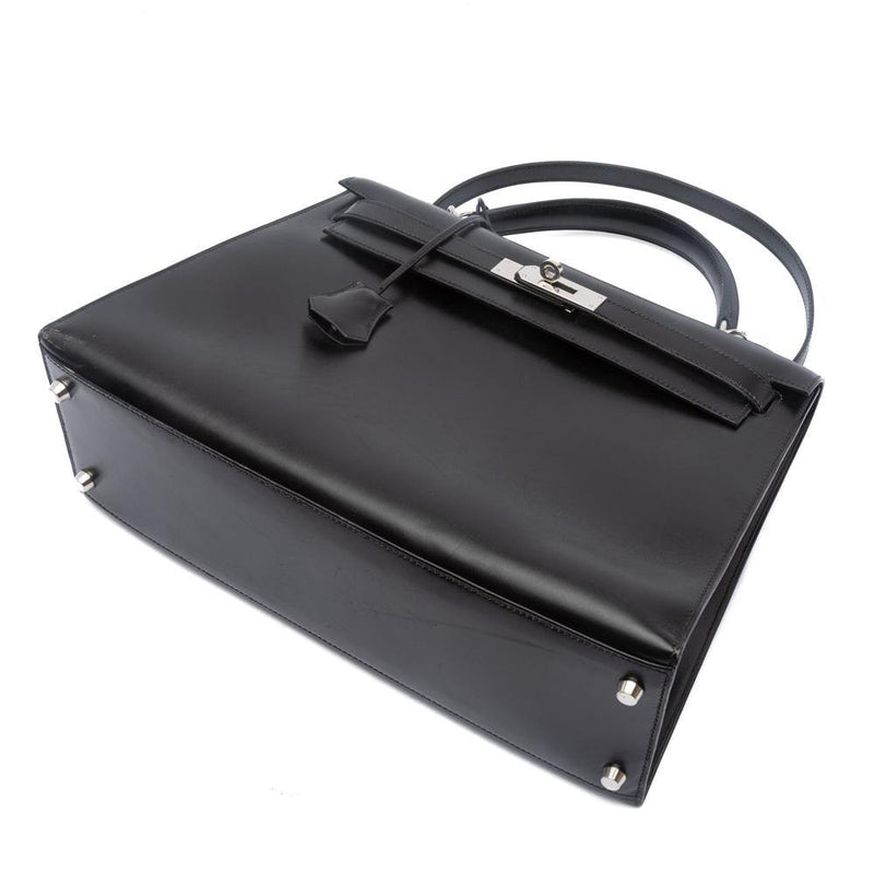 Box Leather Palladium Plated Kelly Sellier 32 Black Bag.