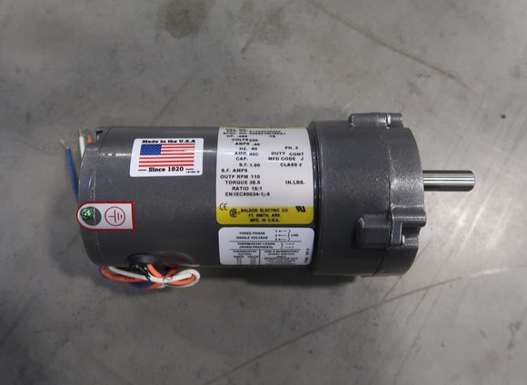 BALDOR 0.085 Hp Industrial Electric Motor With 15:1 Gear Reducer