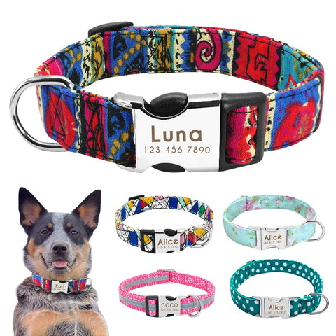 Nylon Dog Collar Personalised.  Engraved ID Tag  for Small Medium Large Dogs