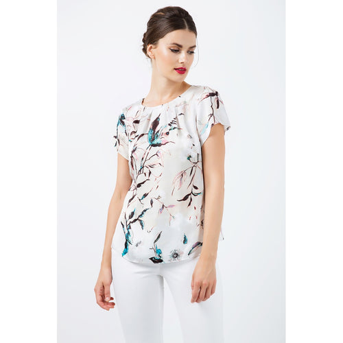 Short Sleeve Print Satin Top