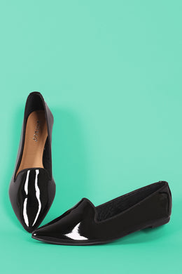 Bamboo Patent Pointy Toe Loafer Flat