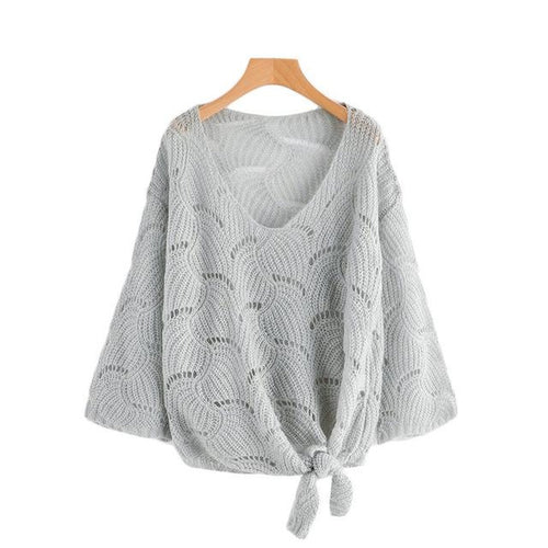 V Neckline Self Tie Knit Sweater