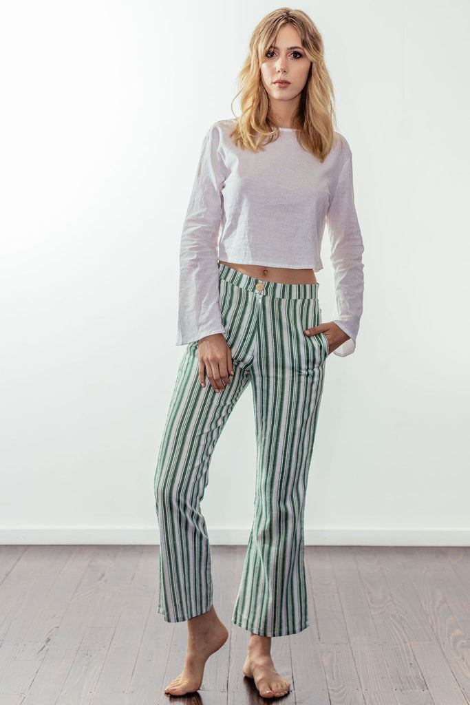 canyon classic high rise crop flare | mulholland green