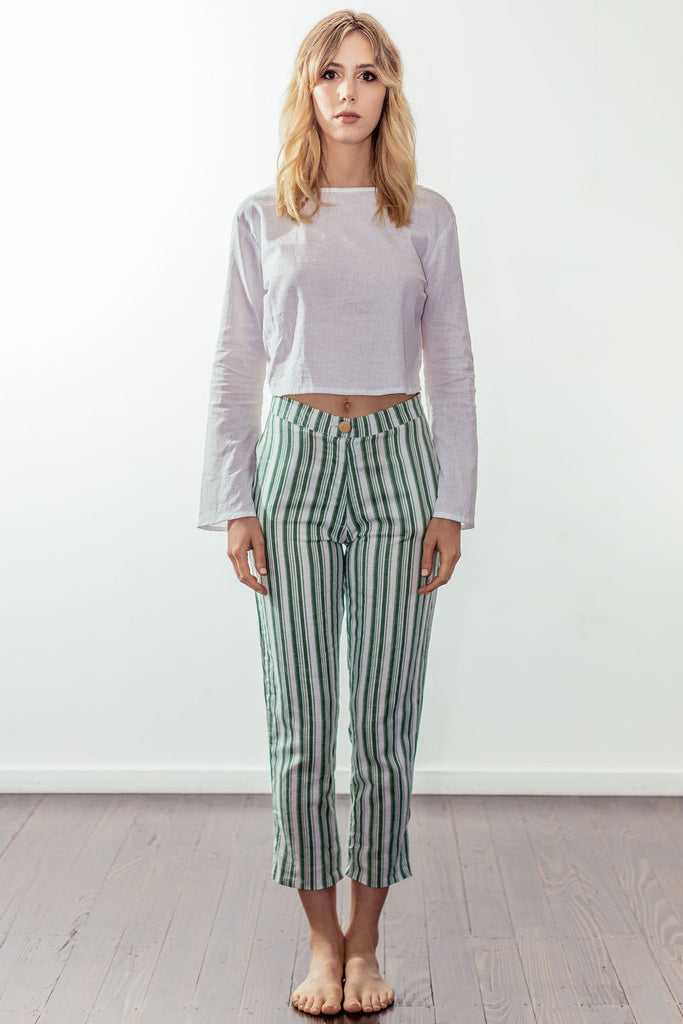 canyon classic high rise crop pant | mulholland green