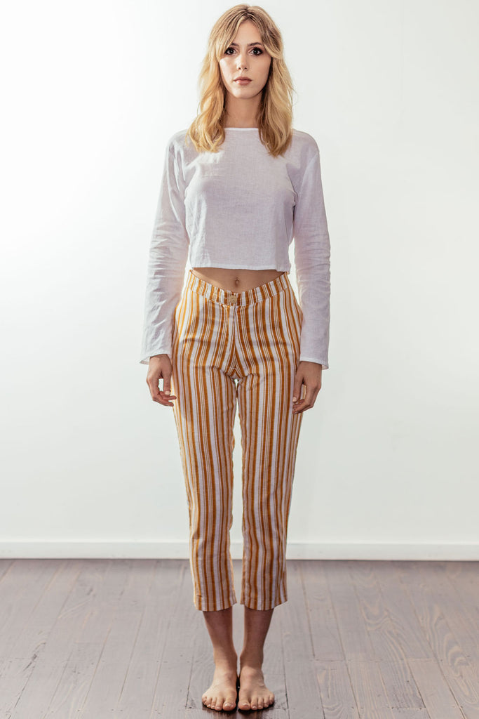 canyon classic high rise crop pant | californian gold