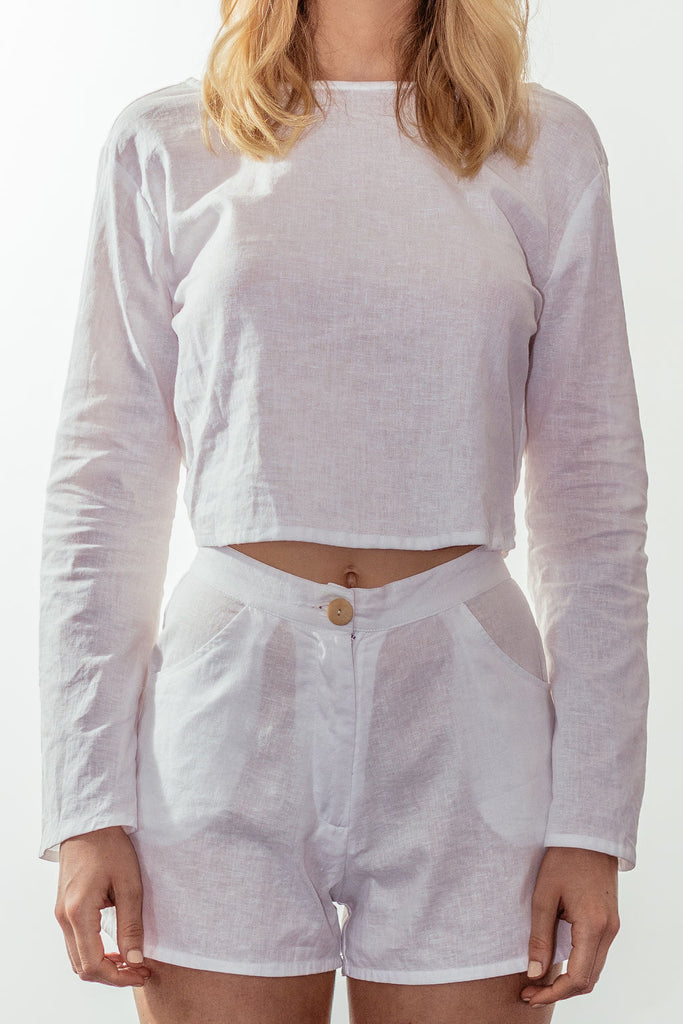 canyon backless bell blouse | white