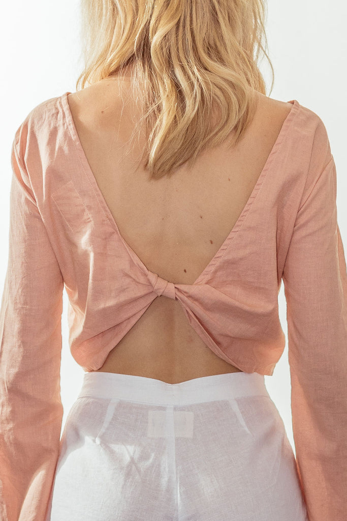 canyon backless bell blouse | sunset pink