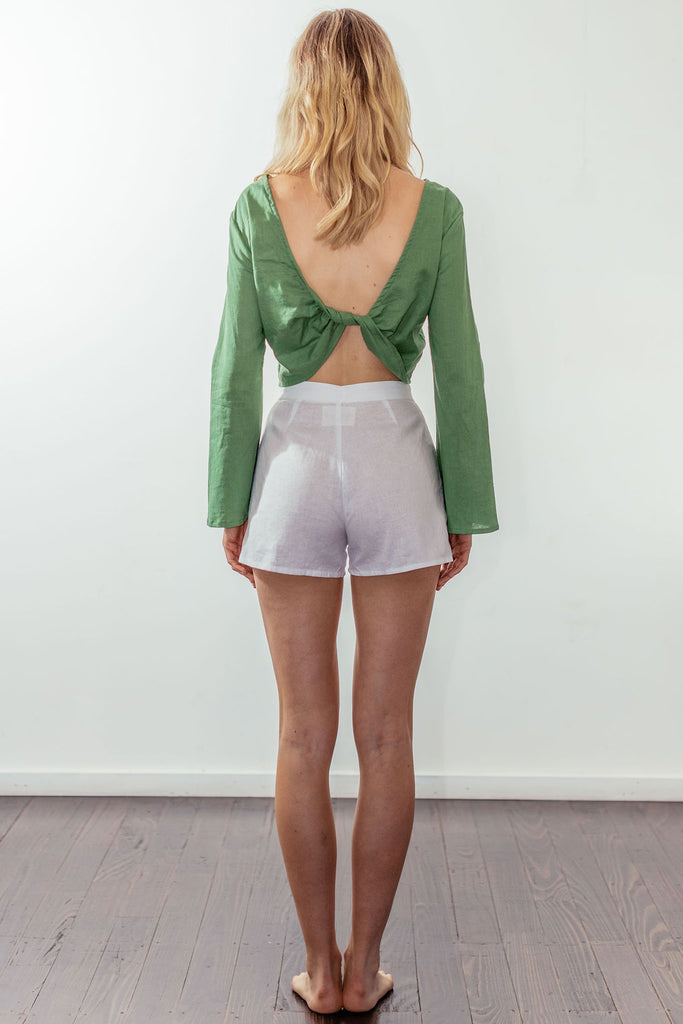 canyon backless bell blouse | mulholland green