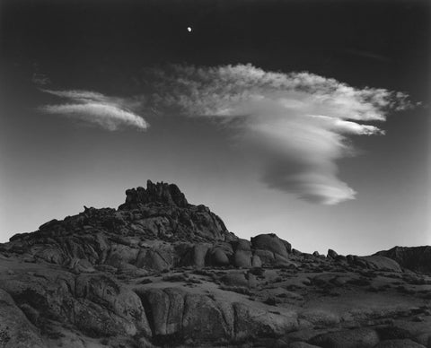 ROCKS MOON AND CLOUDS, ALABAMA HILLS, CALIFORNIA