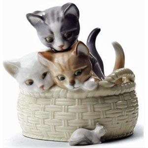 Lladro Cats And Dog Figurines