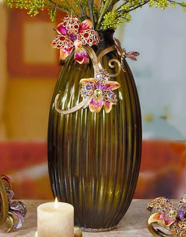 Jay Strongwater Lily Scroll Vase