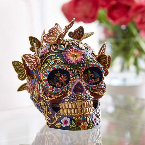 Jay Strongwater Frida Skull With Butterflies