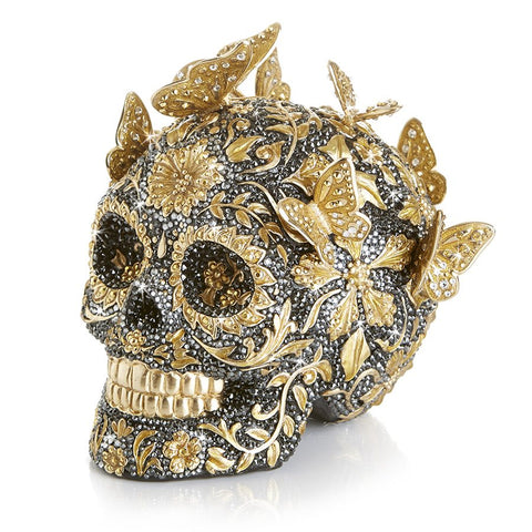 Jay Strongwater Frida Pave Skull with Butterflies Figurine 25th Anniversary SDH1909-270