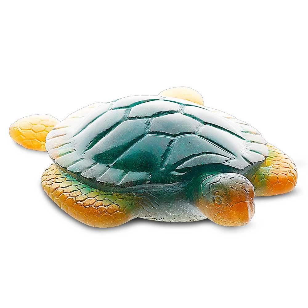 Daum Crystal Sea Turtle Amber Green 02691