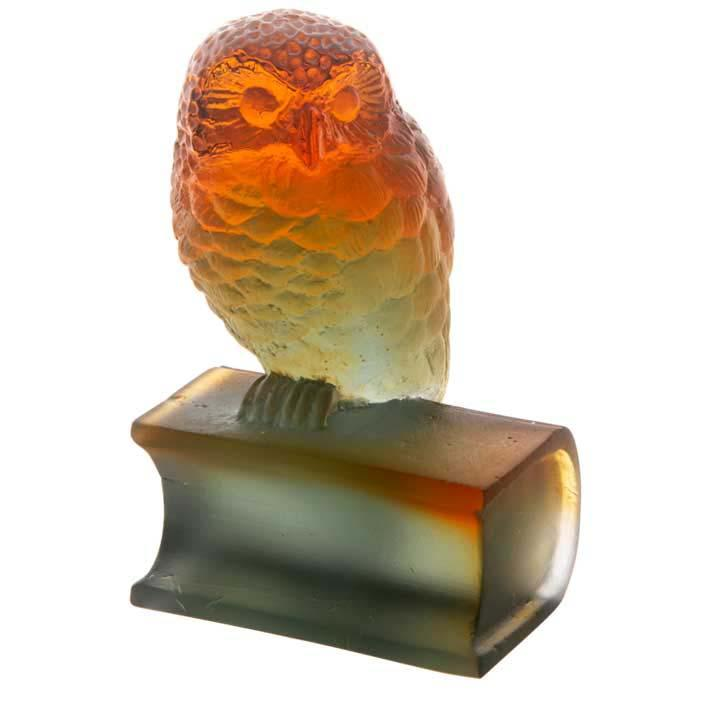 Daum Crystal Grey Owl On Book Amber 03465-1