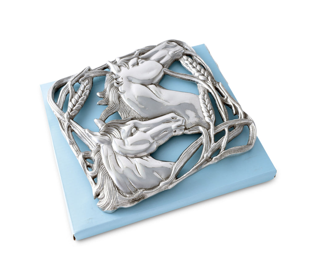 Arthur Court Horse with Wheat Trivet 40662