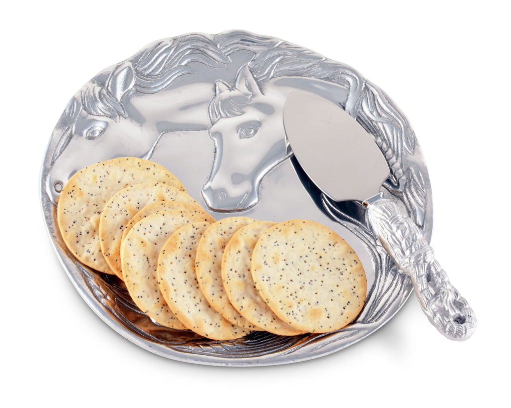 "Arthur Court Designs Aluminum Horse Plate with 7"" Server Knife"