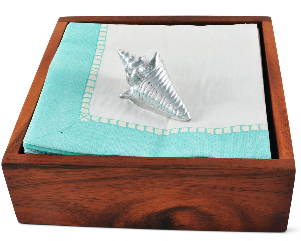 Arthur Court Ocean Shell Paper Napkin Weigh for Paper Napkin, Documents on a Desk, Dinnerand Picnic Tables - Outdoor Use,  Organization for Multiple Sizes - Durable Metal 3 Inch Long