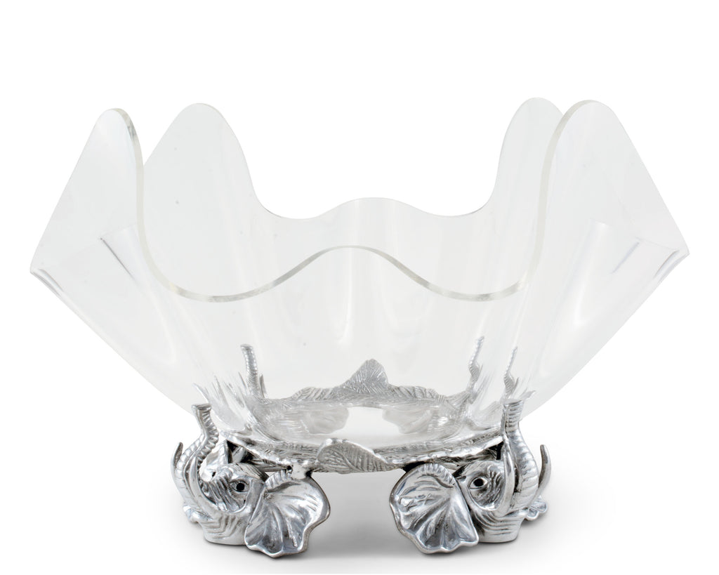 "Arthur Court Designs Aluminum Elephant Stand with 14"" Acrylic Serving Bowl"