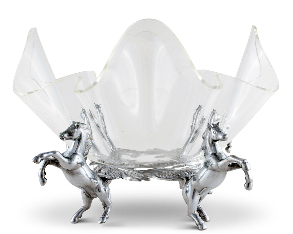 "Arthur Court Designs Aluminum Metal Horse Stand with 11"" Acrylic Serving Bowl"