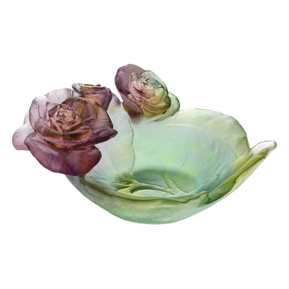 Daum Crystal Rose Passion Small Bowl Green Pink 05289