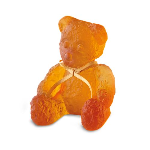 Daum Crystal Amber Mini Doudours Teddy Bear 05364-1