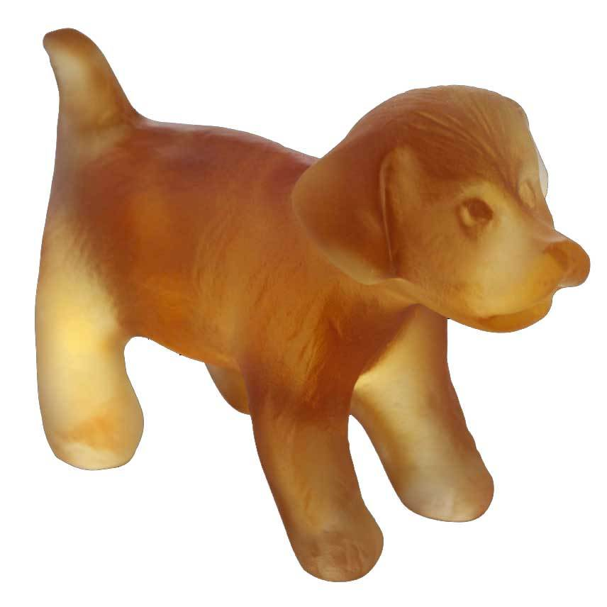 Daum Crystal Puppy Standing Mini Amber 05387