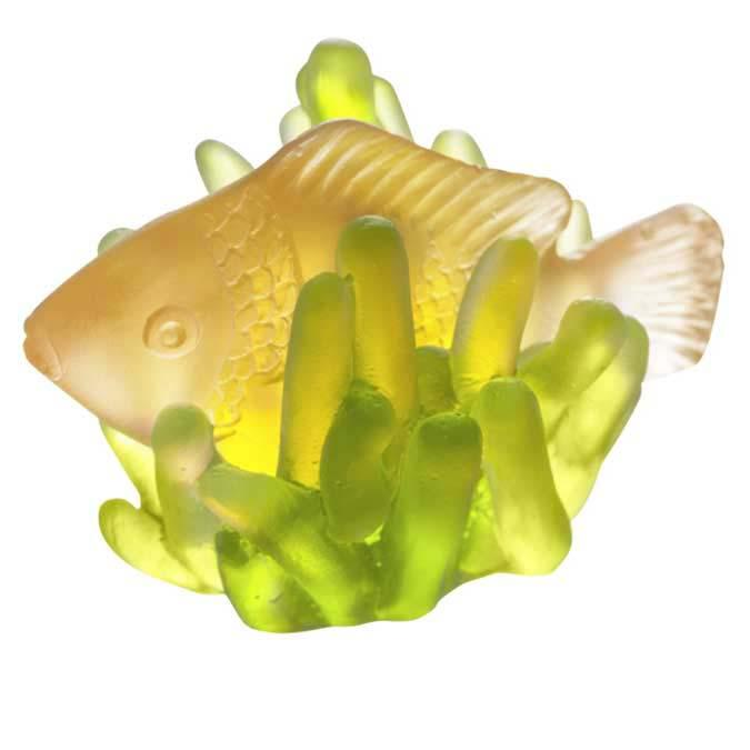 Daum Crystal Small Fish & Anemone Amber & Green 05458