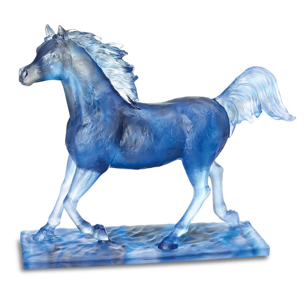 Daum Crystal Majestic Horse Blue 05491-2