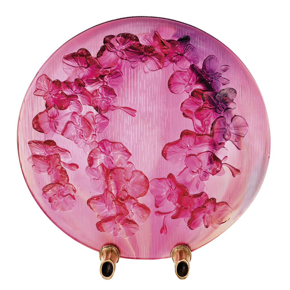Daum Crystal Flowers Of Orchid Decorative Disk 05548