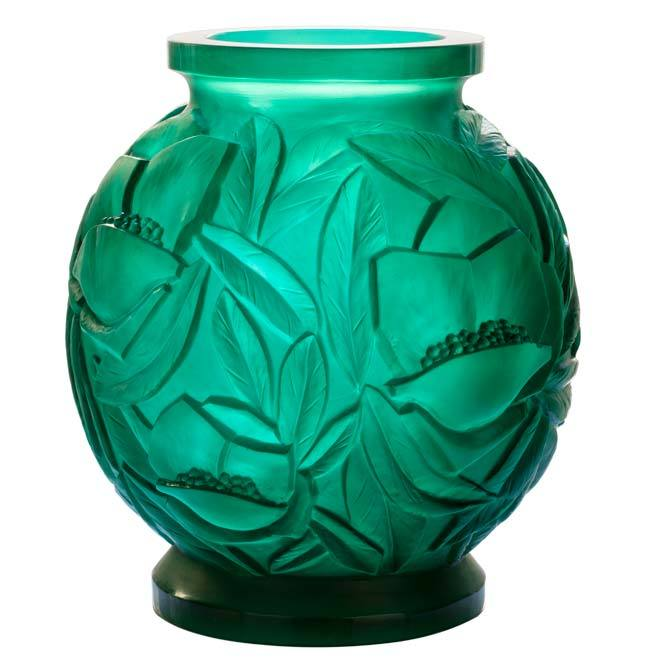 Daum Crystal Green Large Vase 05584