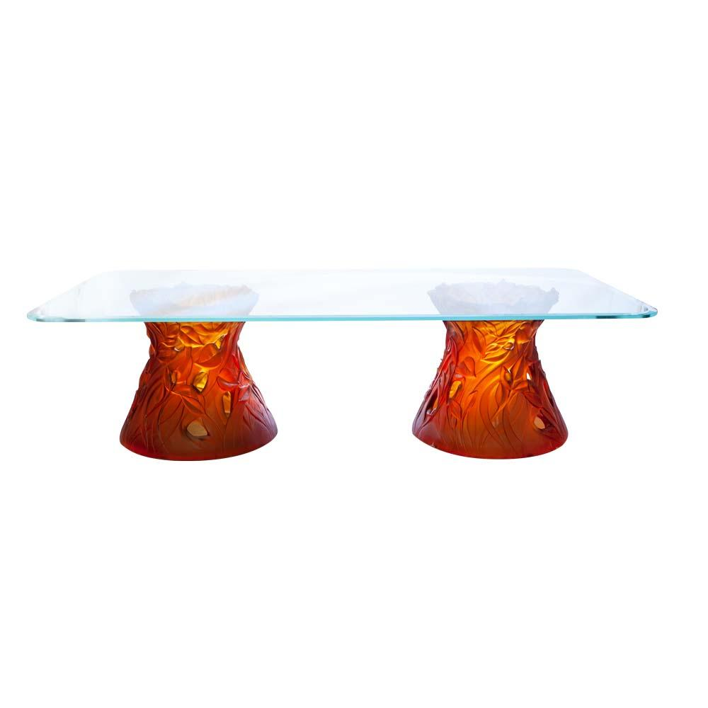 Daum Crystal Coffee Table Large Amber 05661