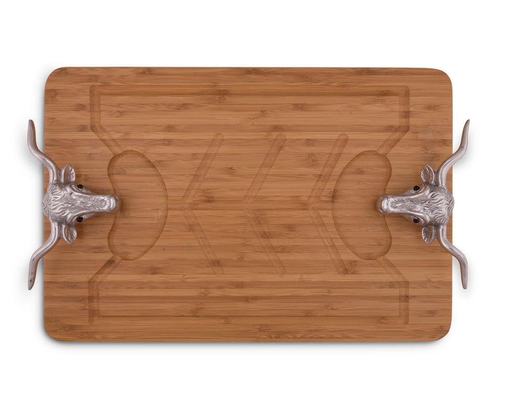 Arthur Court Designs Aluminum Longhorn Handle Bamboo  Wood Carving / Cheese Board Large Tray for Serving Meats or Appetizer 23.5 Inch