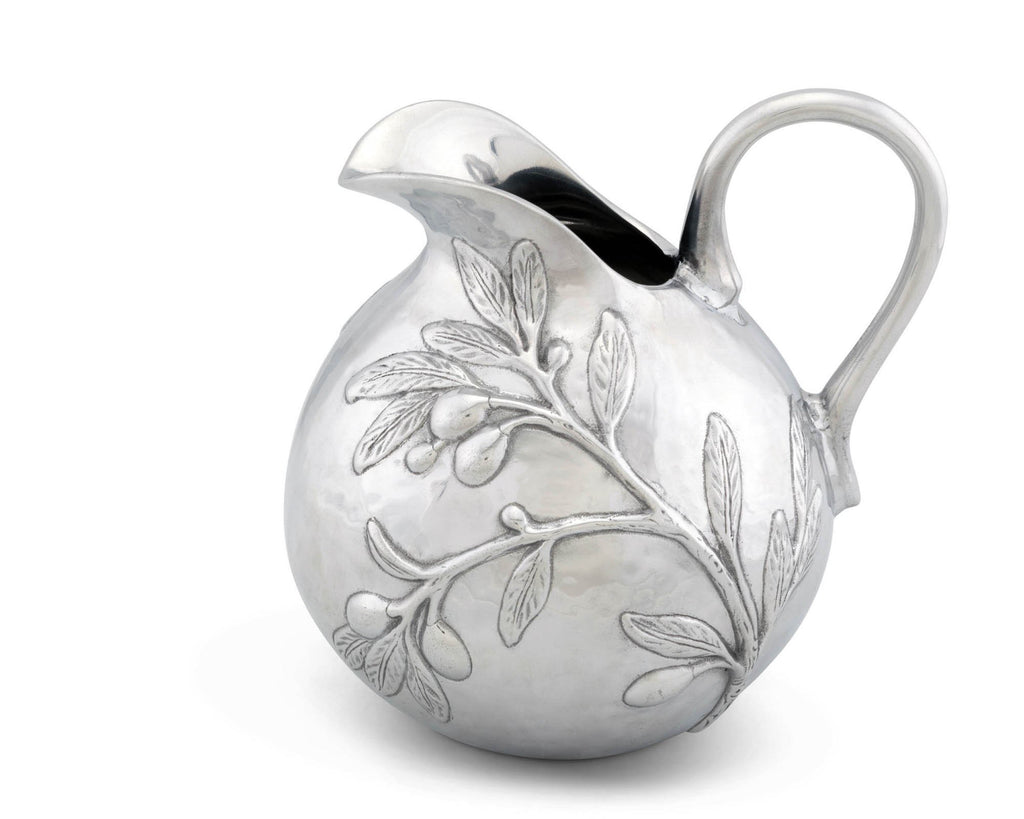 "Arthur Court Aluminum Olive Branch Tuscan Pattern Table Serving Water / Juice Pitcher 100 oz. 9"" Tall"