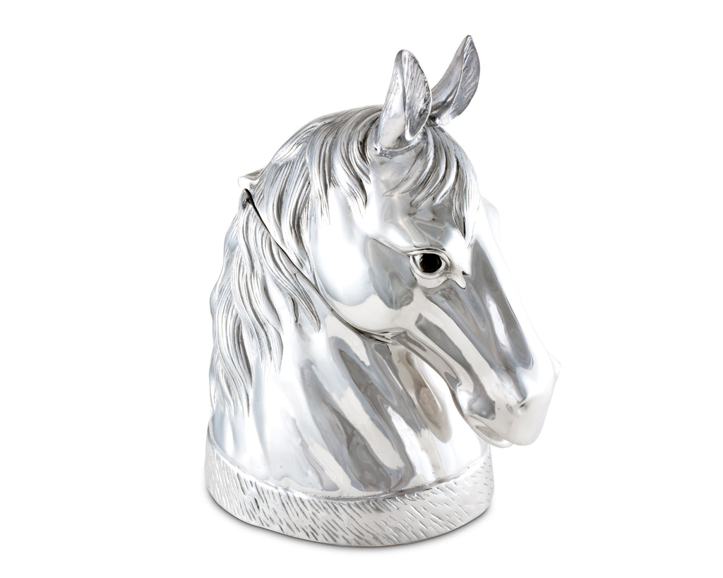"Arthur Court Signature Aluminum Horse Head Figure Ice / Wine / Champagne Bucket / Punch Server - 18"" Long 18.5"" Tall"