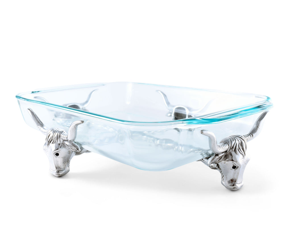 Arthur Court Metal Pyrex Glass Casserole Dish Holder Longhorn Steer Pattern Sand Casted in Aluminum with Artisan Quality Hand Polished Design Tanish-Free Western Decor 20 inch long, 3 quart capacity