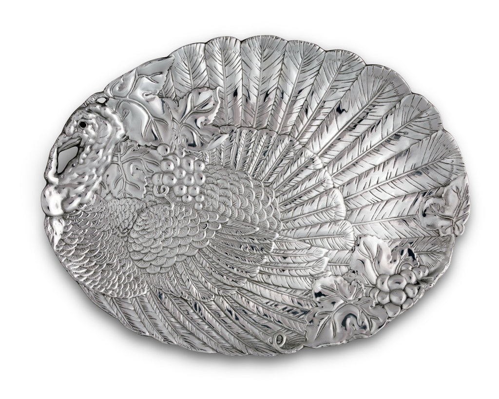 "Arthur Court Designs Aluminum Harvest Turkey Oval Platter 21.5"" x 16"""