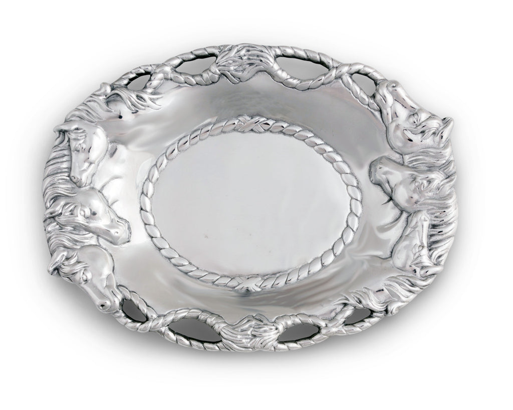 "Arthur Court Designs Metal Aluminum Equestrian Horse Oval Serving Tray / Platter 14""x10"""