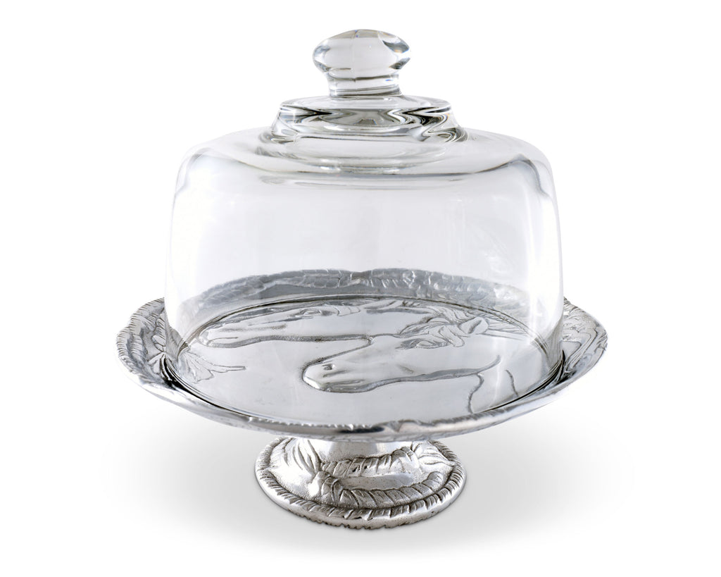 "Arthur Court Designs Aluminum 8"" Horse Footed Plate with Glass Dome"
