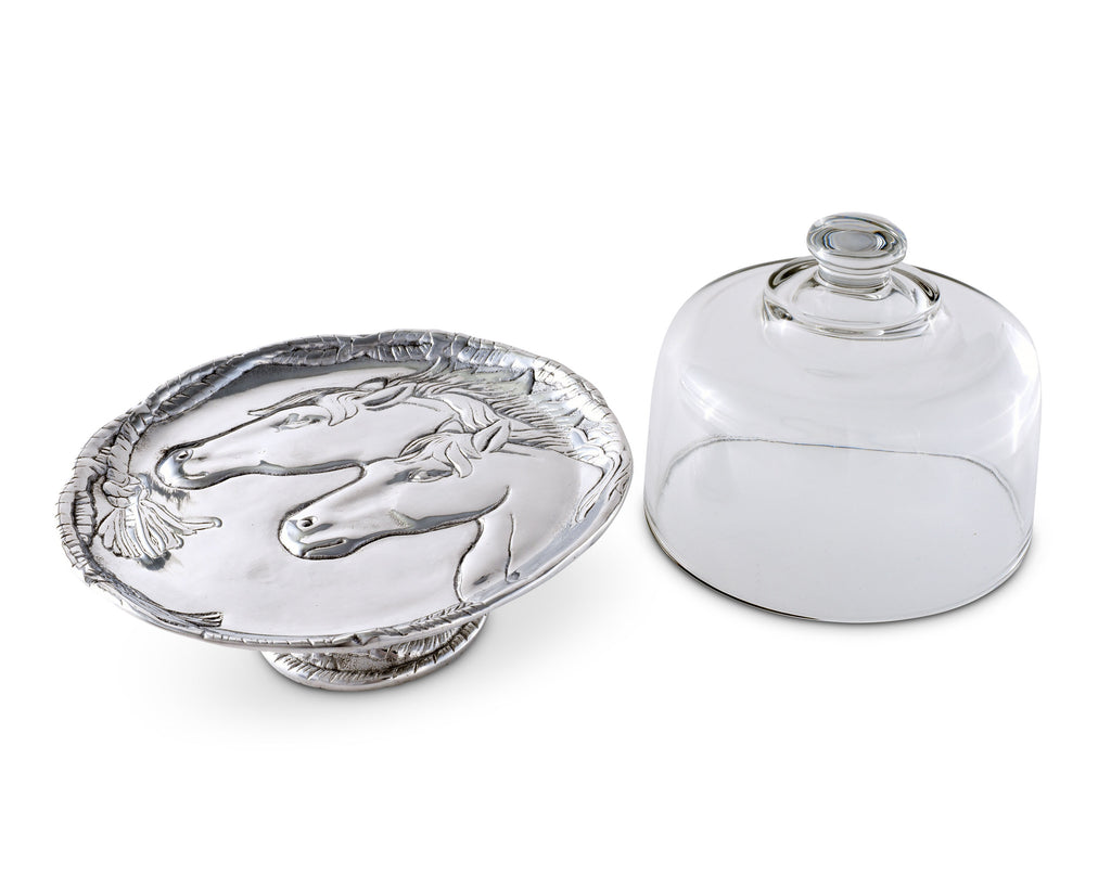 Arthur Court Horse Plate with Glass Dome 102898