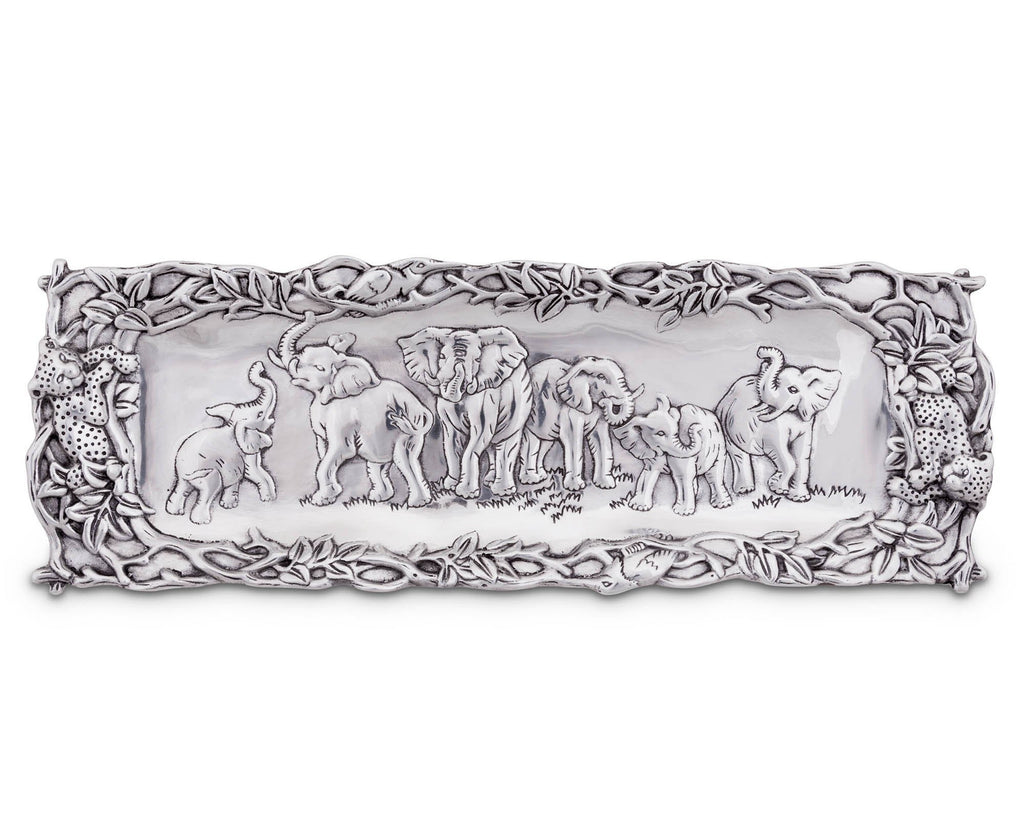 "Arthur Court Designs Aluminum Elephant Oblong Tray 19"" x 6.5"""