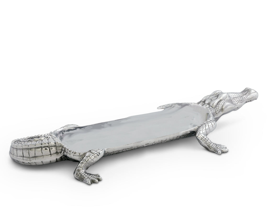 "Arthur Court Designs Aluminum Alligator Figural 17"" Serving Tray"