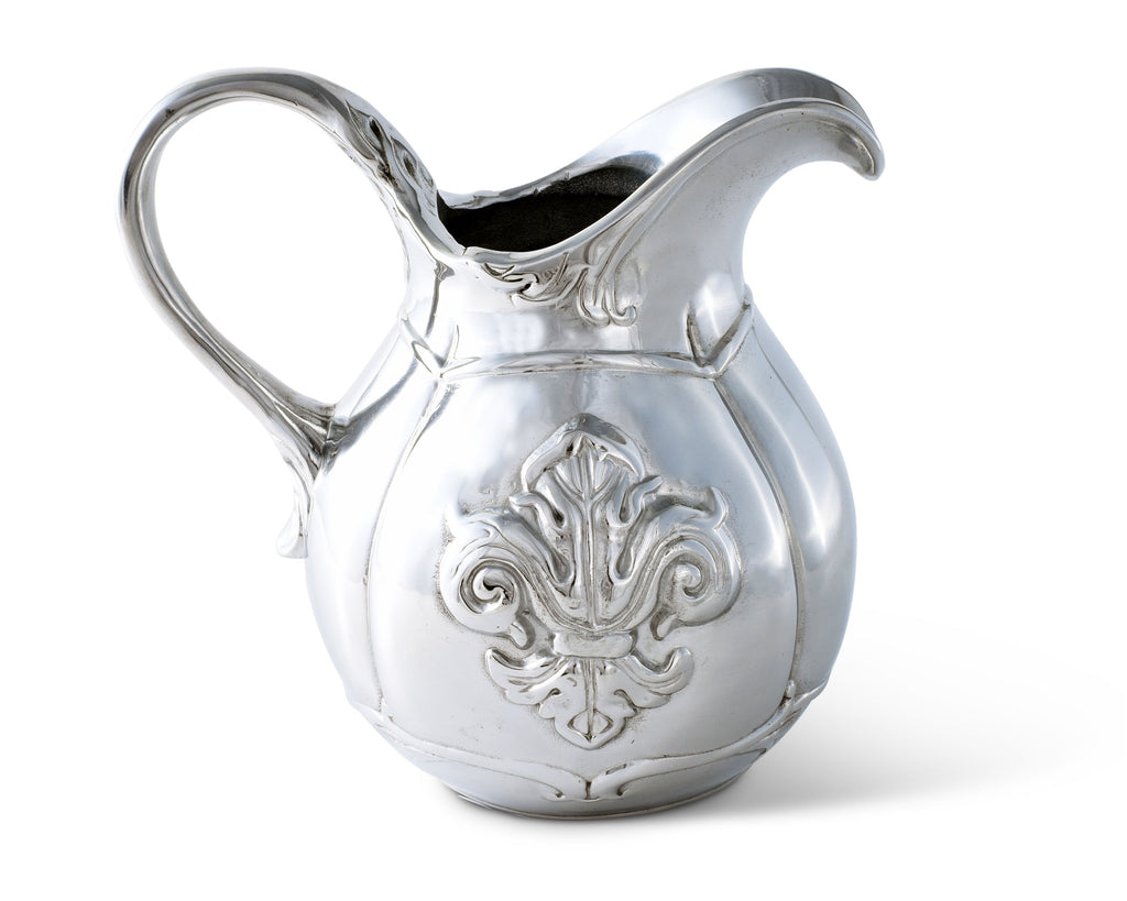 Arthur Court Designs Aluminum Metallic Fleur-De-Lis Pitcher Water Jug for Hot/Cold Water, Ice Tea and Juice Beverage Small 6.25 Inch Tall