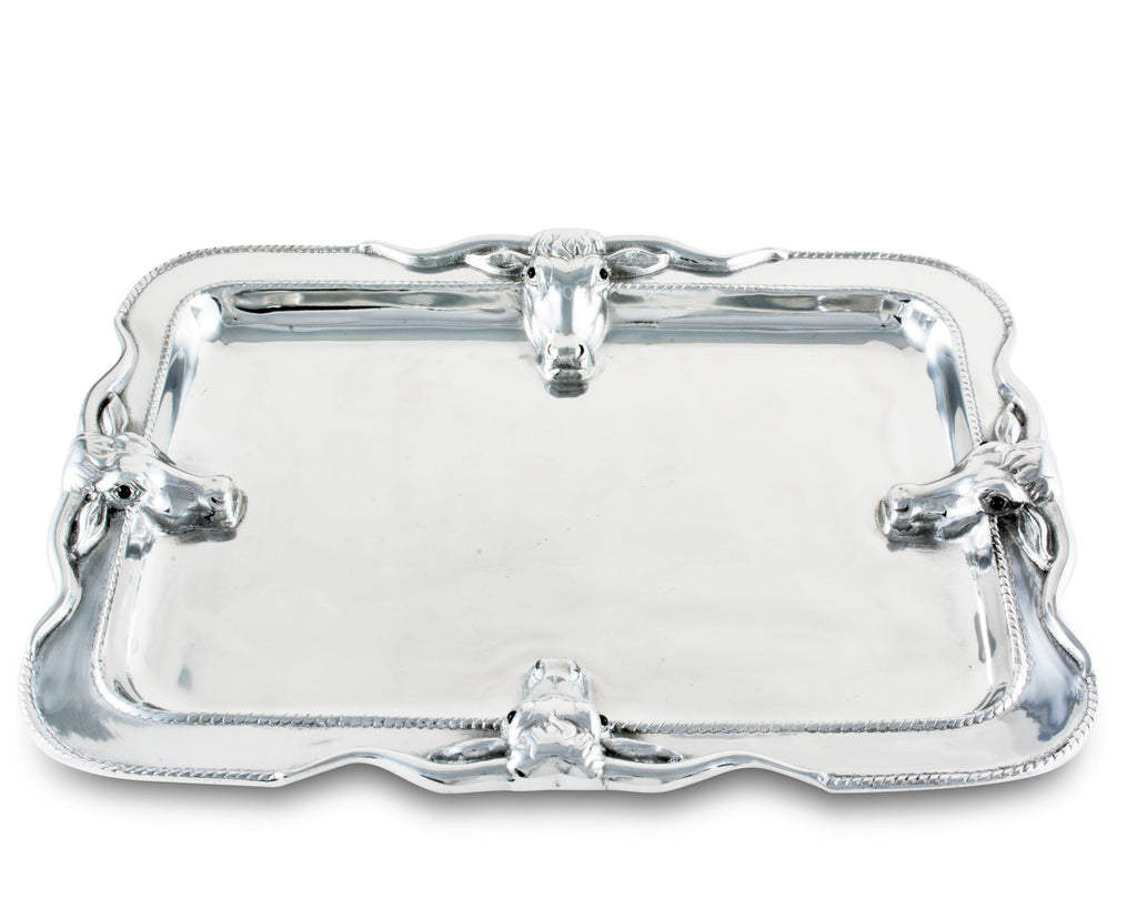 Arthur Court Designs Aluminum Large Longhorn Food Tray / Platter 18 Inches x 14 Inches