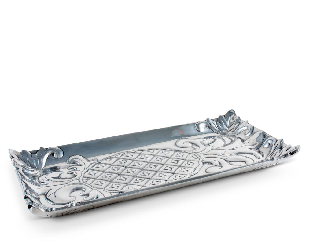 "Arthur Court Designs Pineapple Pattern Aluminum Bread Tray 6""x12"""